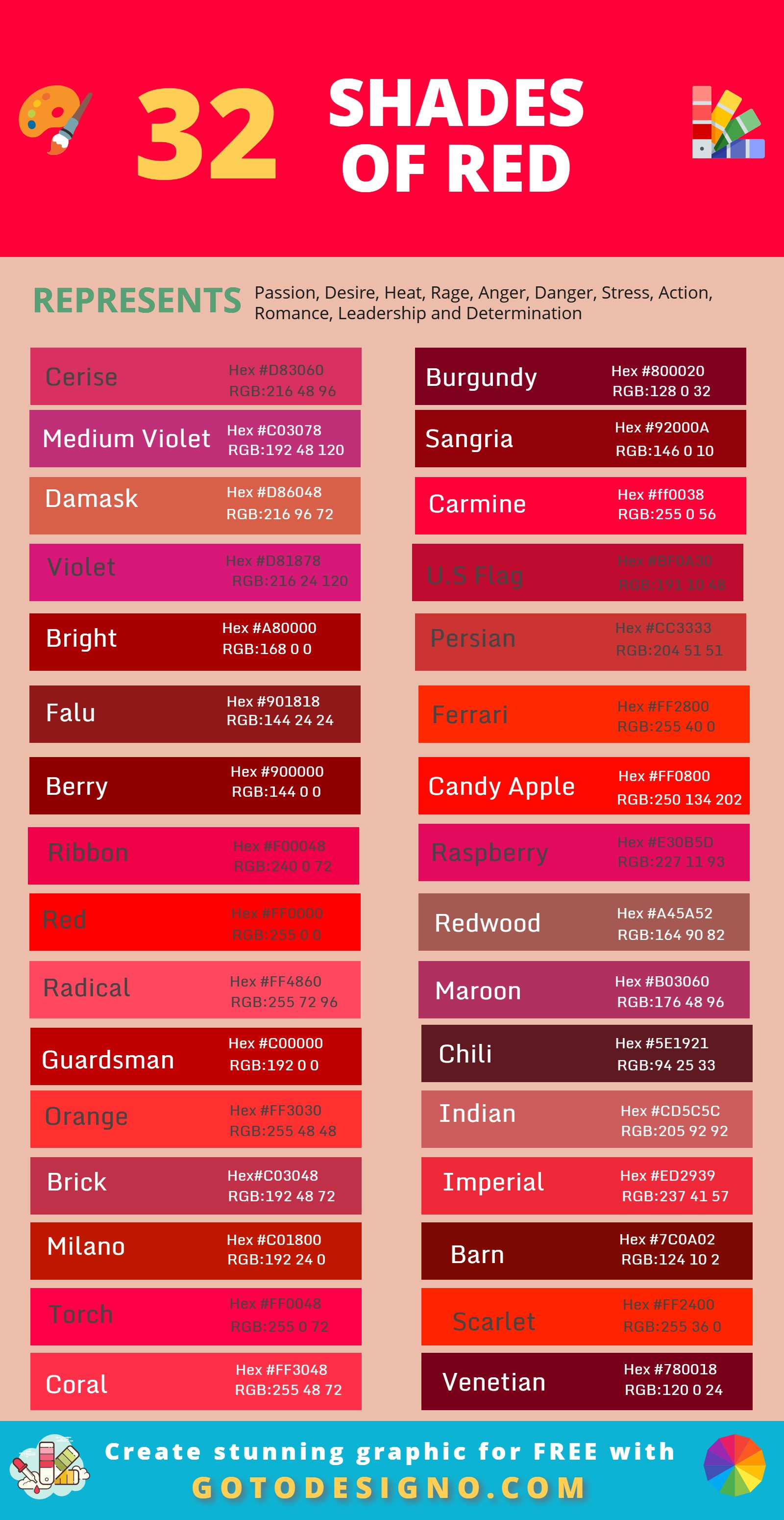 90 Shades Of Red Color With Hex Code Complete Guide 2020
