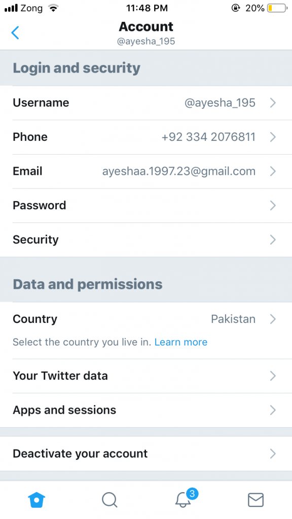 Twitter Handle Change - iPhone Step 4