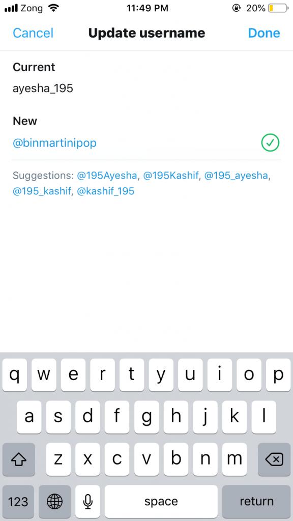 Twitter Handle Change - iPhone Step 5