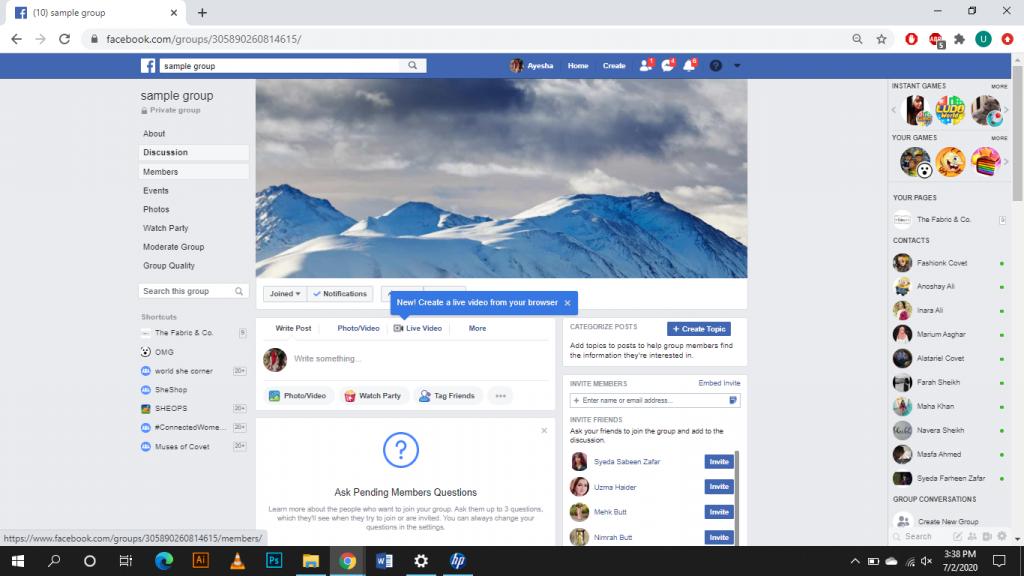 Delete Facebook Group on Desktop - Step 1