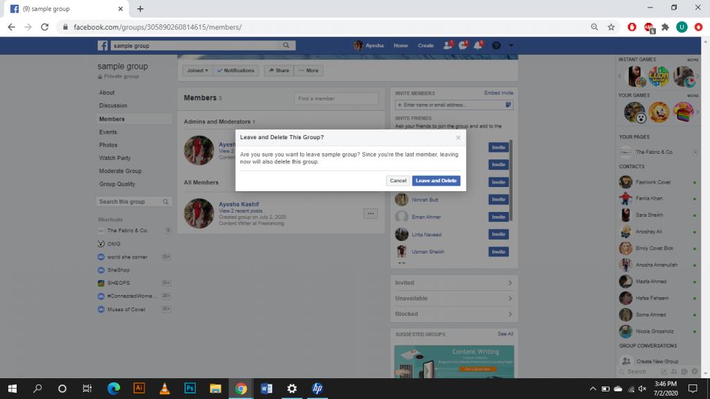 Delete Facebook Group on Desktop - Step 3